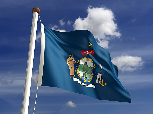 Maine flag (with clipping path) stock photo