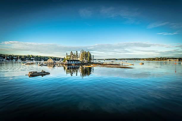Maine harbor panorama stock photo