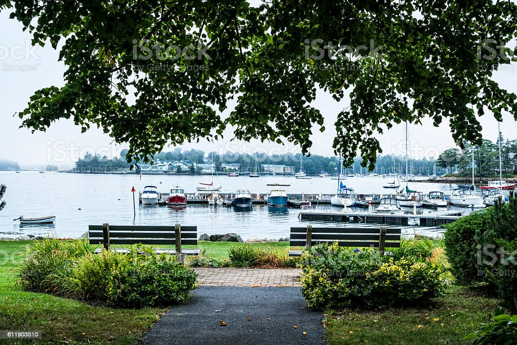 Maine harbor seen from a village park stock photo