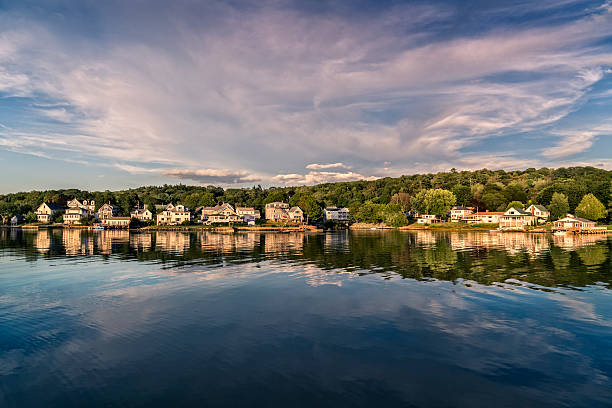 Maine harbor with waterfront village. stock photo