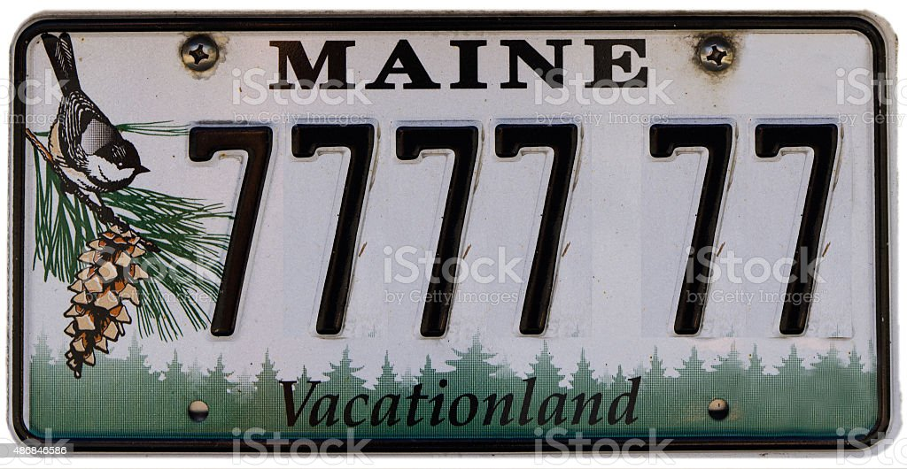 Maine licence plate with fake number stock photo