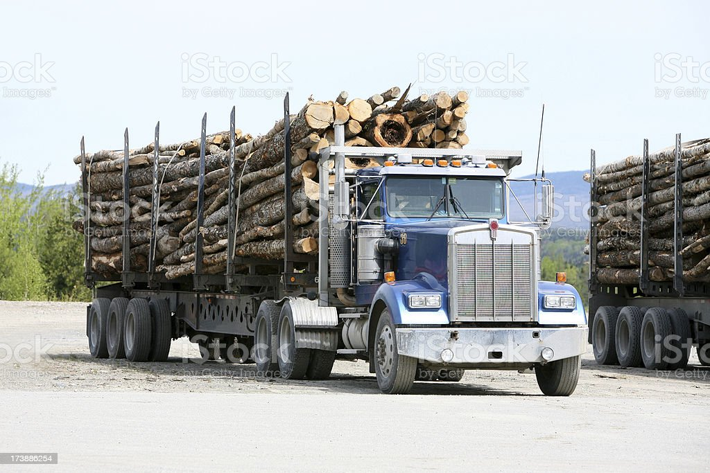 Maine Logging truck stock photo