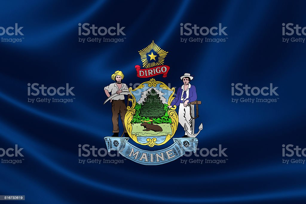 Maine State Flag stock photo