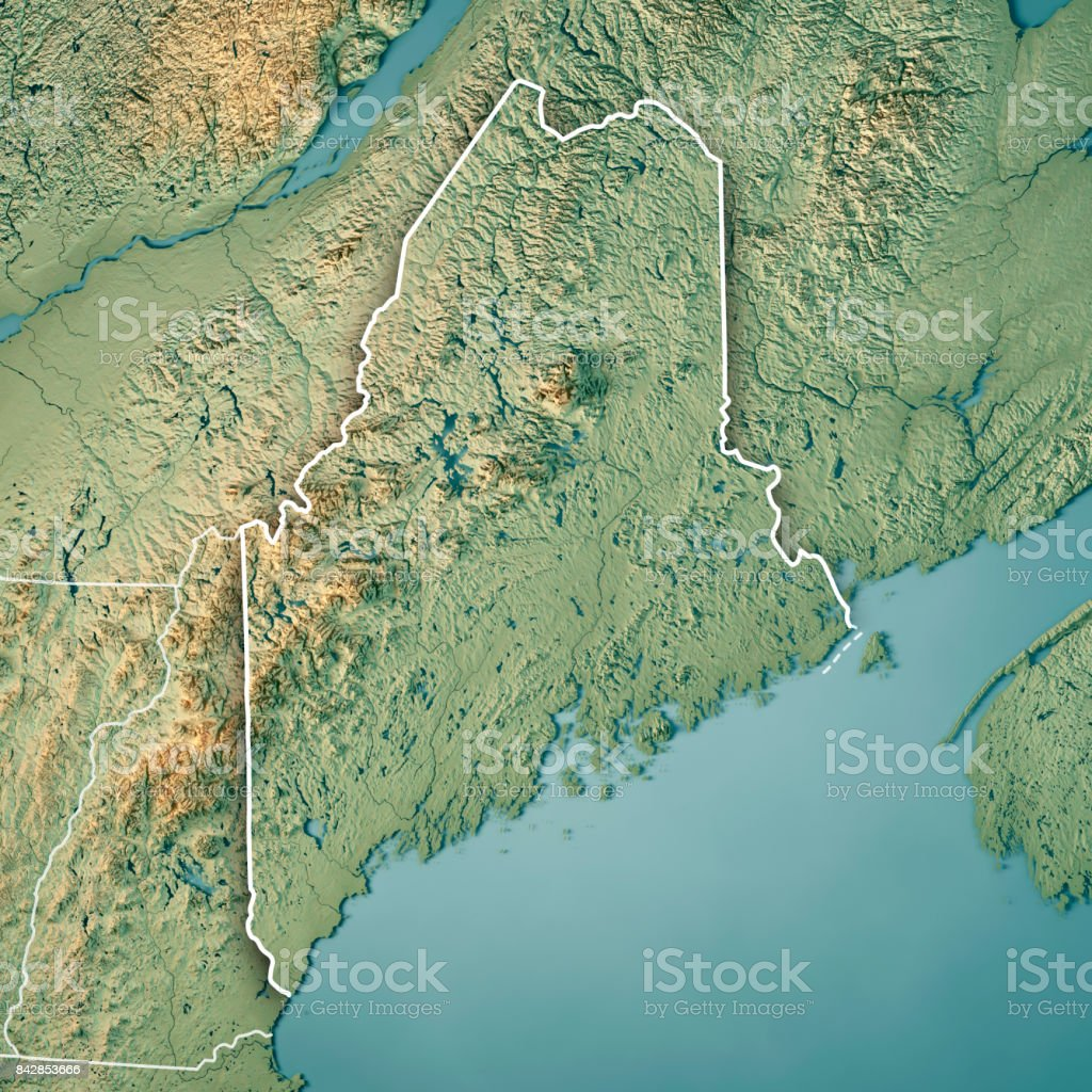 Maine State Usa 3d Render Topographic Map Border Stock Photo ... on maine soil maps, maine county maps, maine pond maps, maine satellite maps, maine historical maps, maine flood of 1987, maine world map, topographic maps, maine city maps, maine aerial maps, maine road maps, maine nautical maps, maine united states, maine hunting magazines, maine state maps, maine medical center map, maine water, maine elevation maps, maine lake maps, maine hiking trail maps,