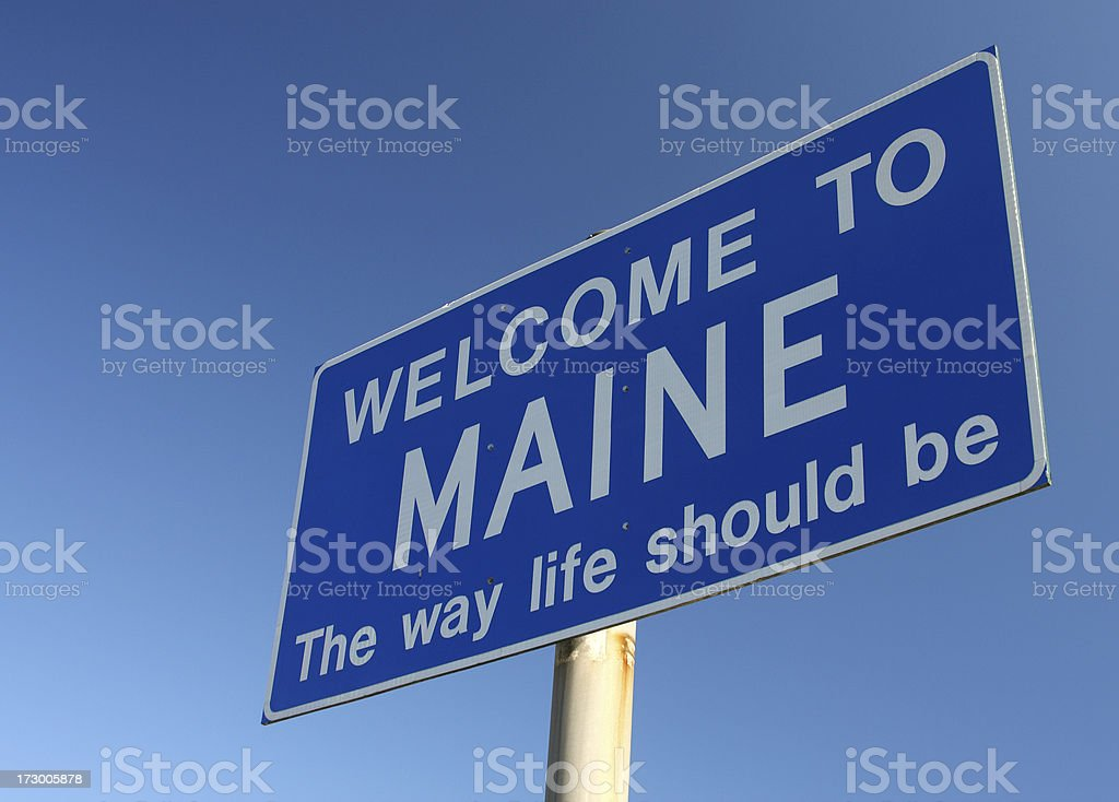Maine Welcome Sign stock photo