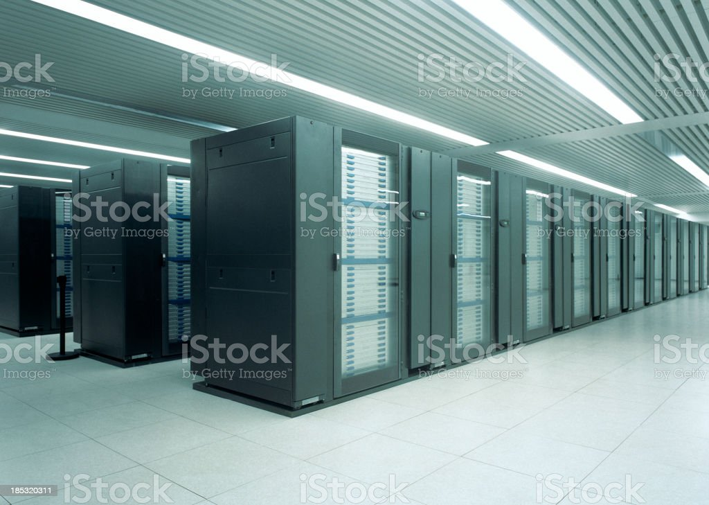 Mainframe computers in data center stock photo