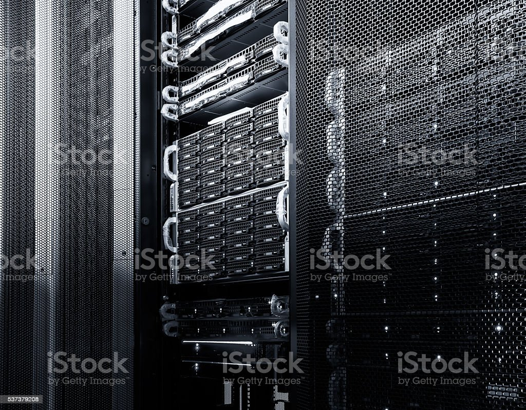 mainframe disk storage in the data center stock photo