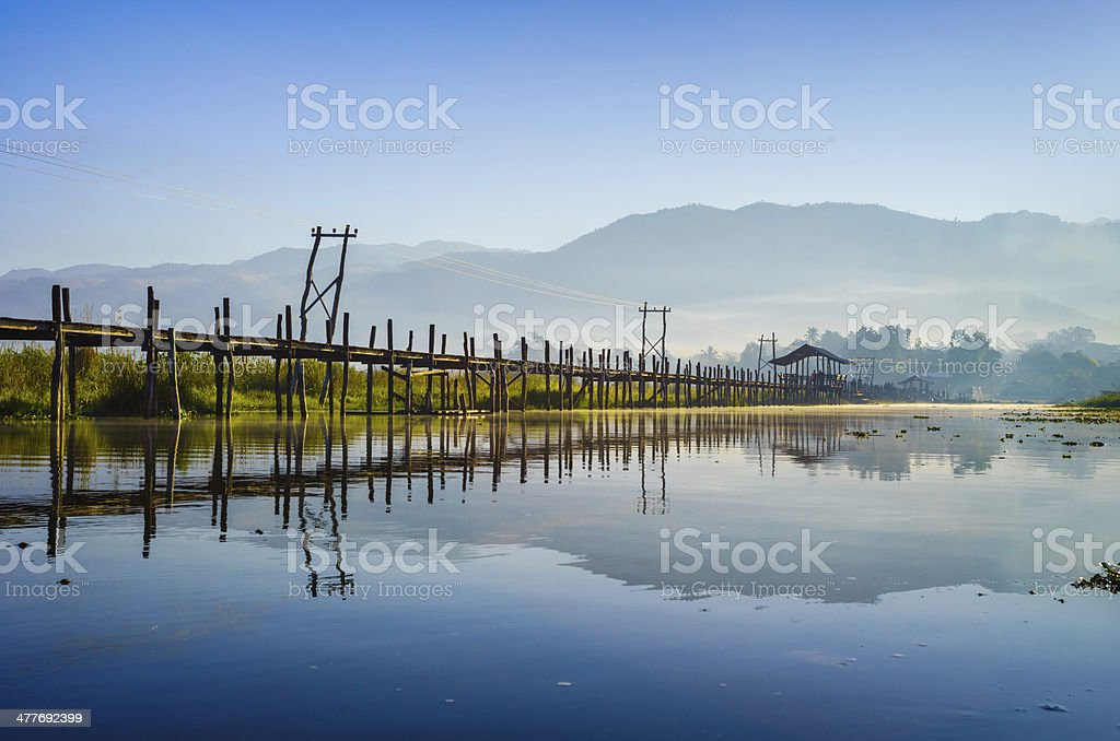 Maing Thauk Bridge, Inle Lake, Shan State, Myanmar. stock photo