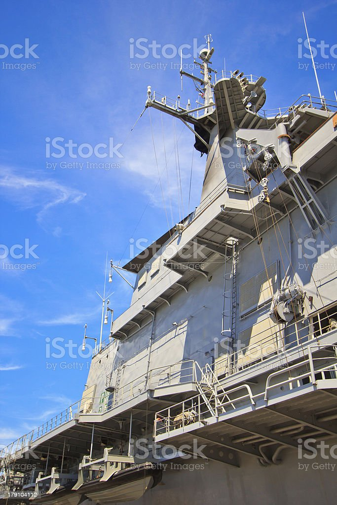 Mainmast on battleship royalty-free stock photo