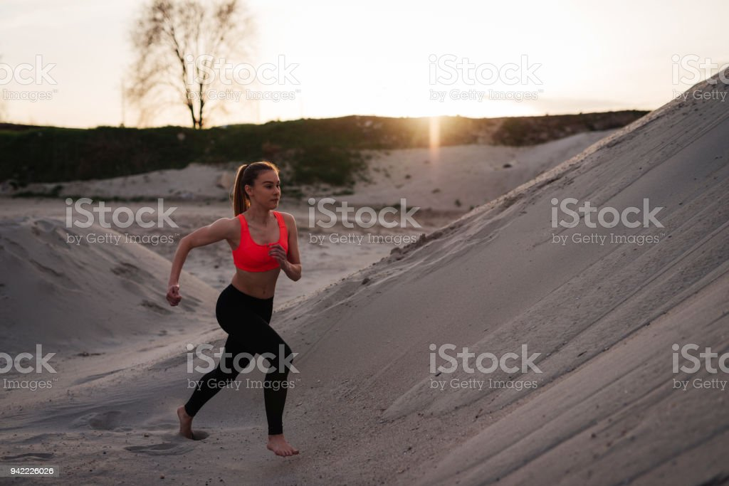 Mainstream jogging is too easy for her stock photo