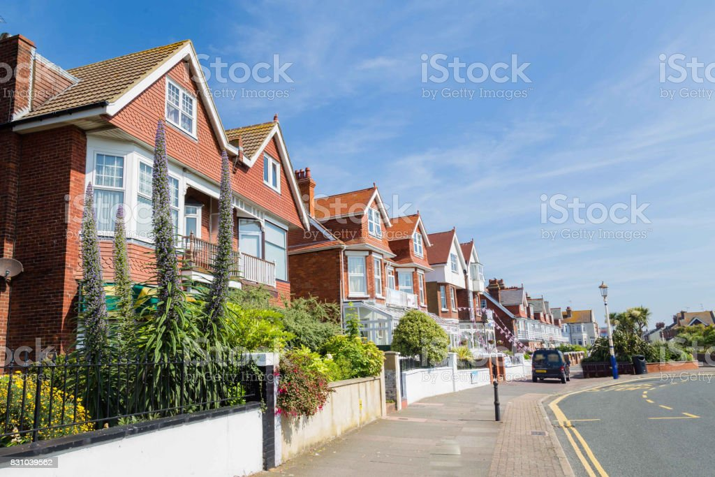 Mainstreet and houses in Eastbourne, Sussex, United Kingdom stock photo