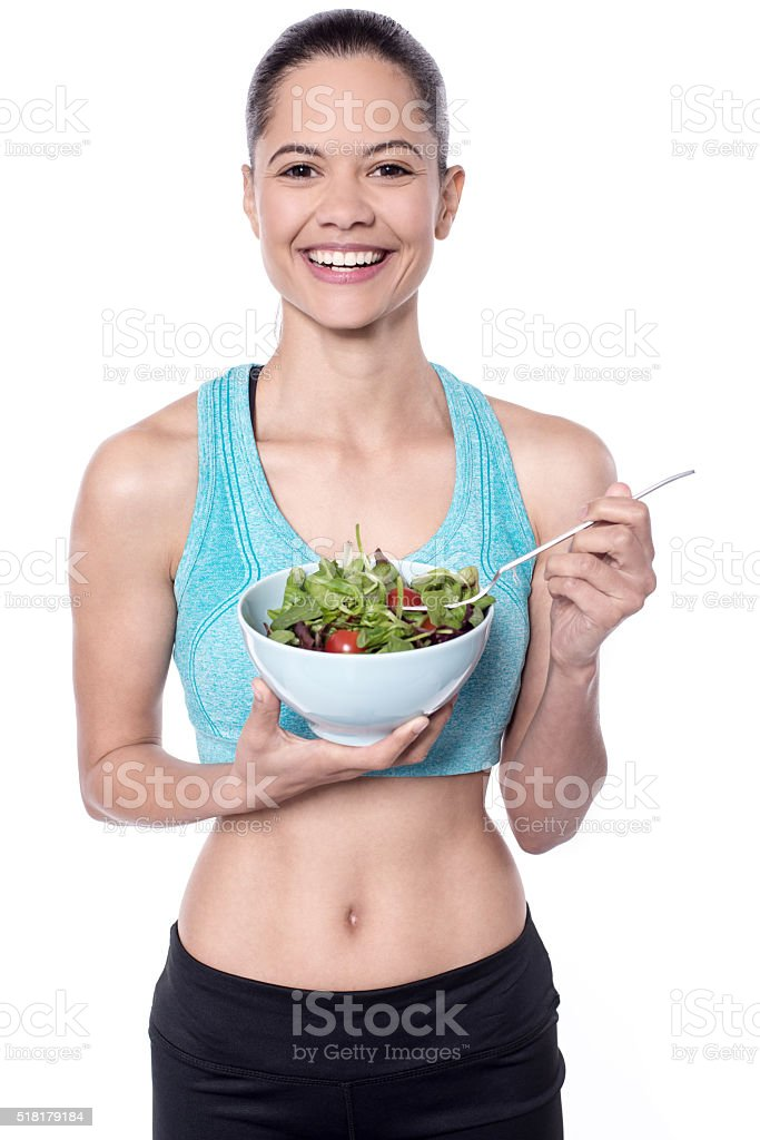 Maintain healthy diet by  eating salad royalty-free stock photo
