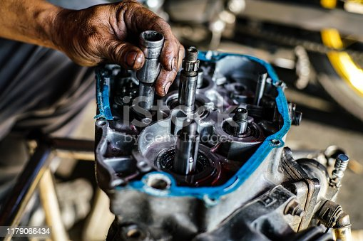 1073743202 istock photo Maintenance and fix repair gear engine hand of technician close up 1179066434