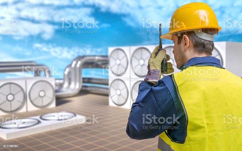 HVAC (Heating, Ventilating, Air Conditioning) maintenance concept. stock photo