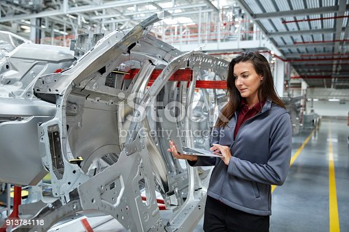 941796726istockphoto Maintenance engineer using laptop by car chassis 913784118