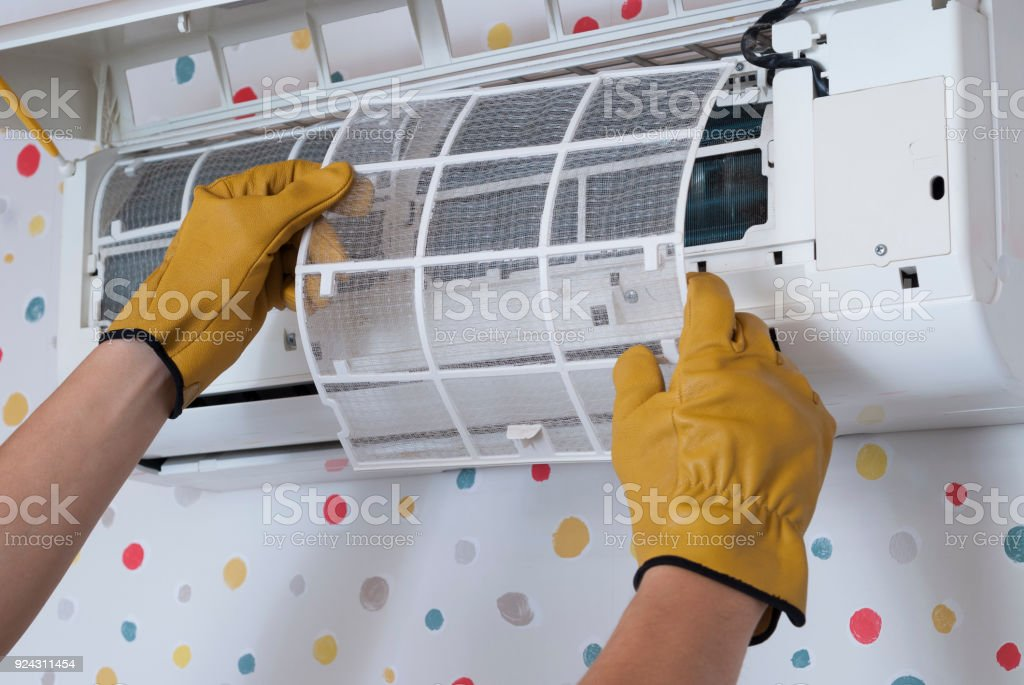 maintenance of air conditioners stock photo