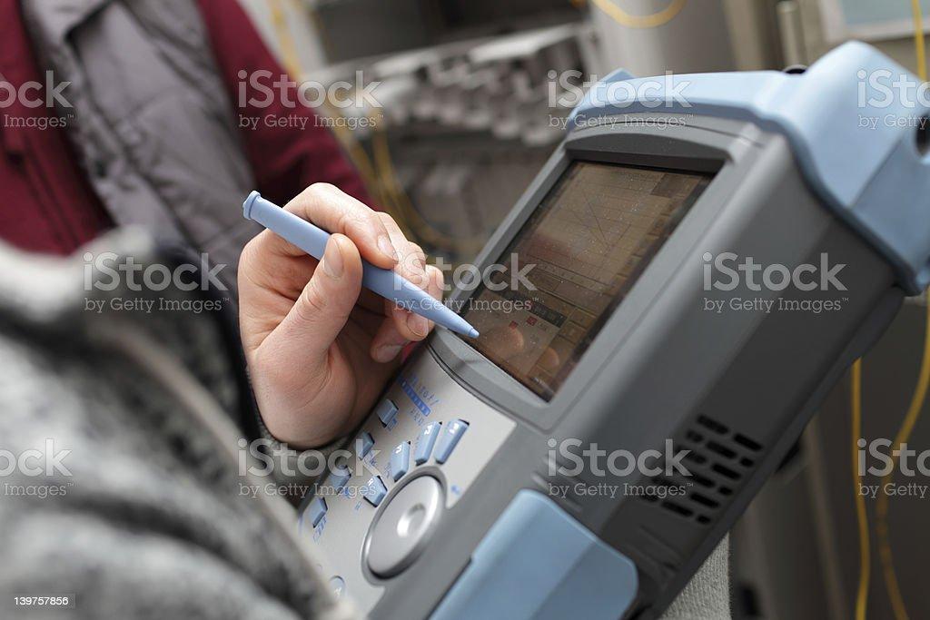Maintenance of telecom line stock photo