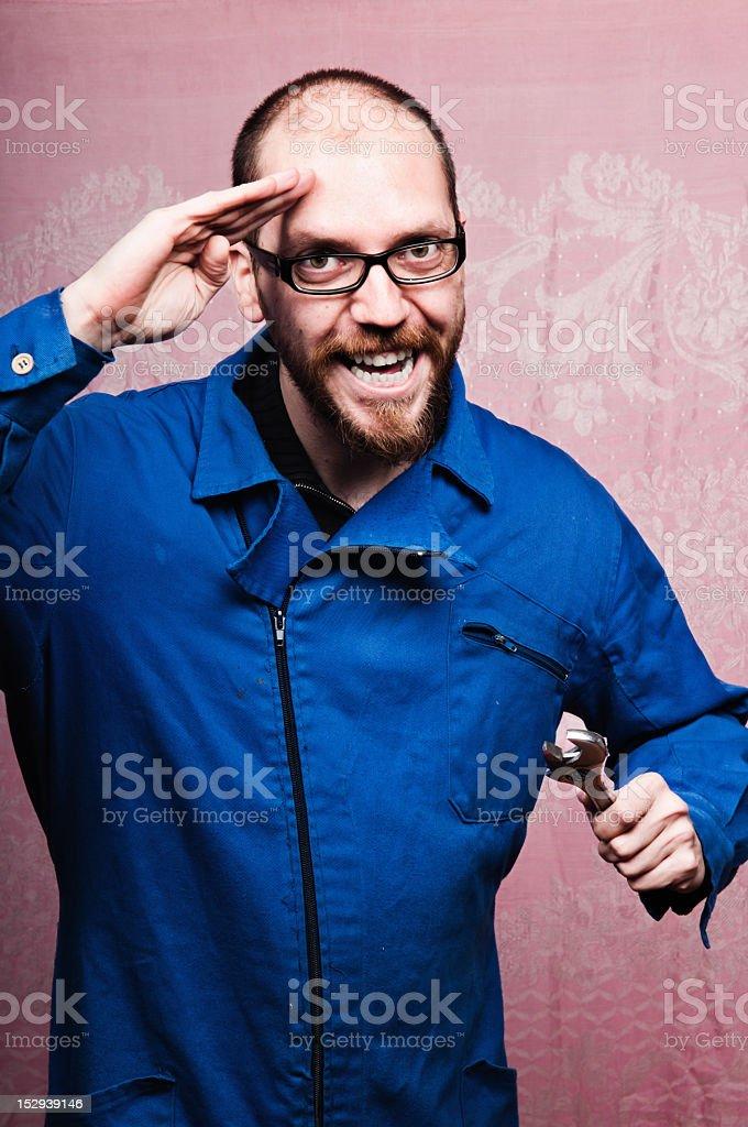Maintenance repairman on blue collar royalty-free stock photo