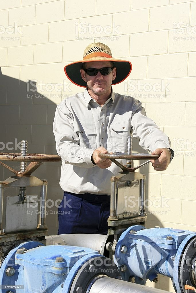 Maintenance Worker at water treatment plant royalty-free stock photo