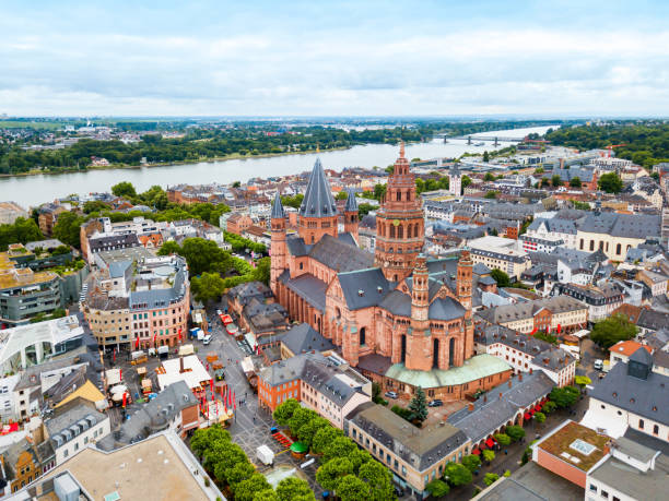 Mainz cathedral aerial view, Germany stock photo