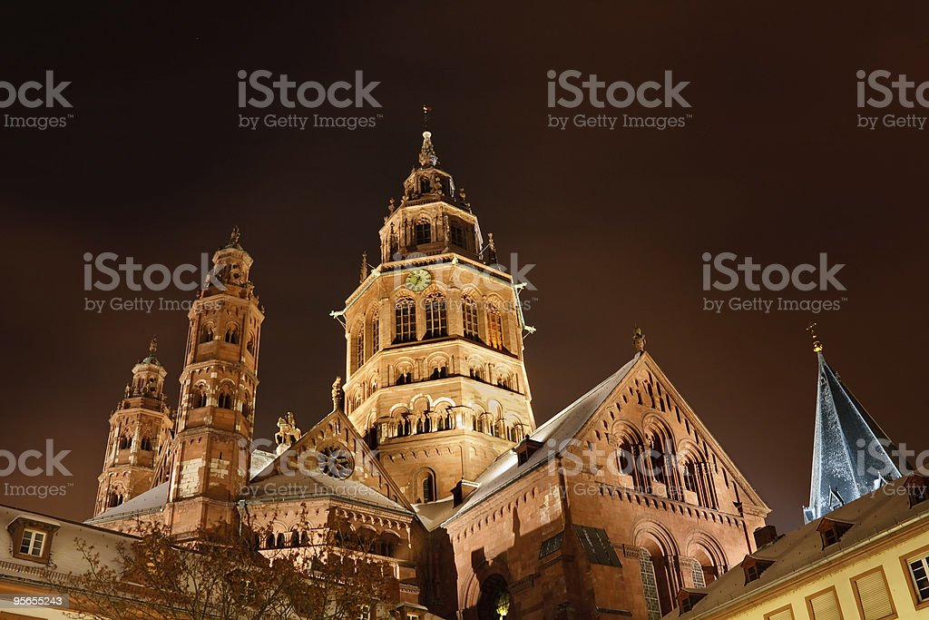 Mainz Cathedral (Mainzer Dom) Illuminated on a Cold Winter's Night stock photo