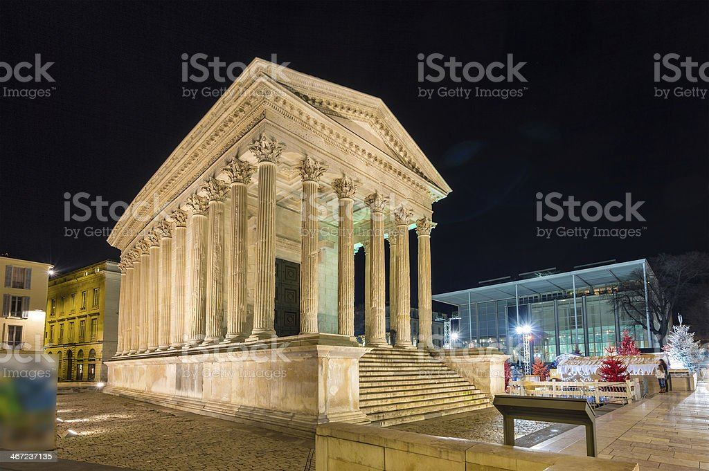 Maison Carree, a Roman temple in Nimes, France stock photo