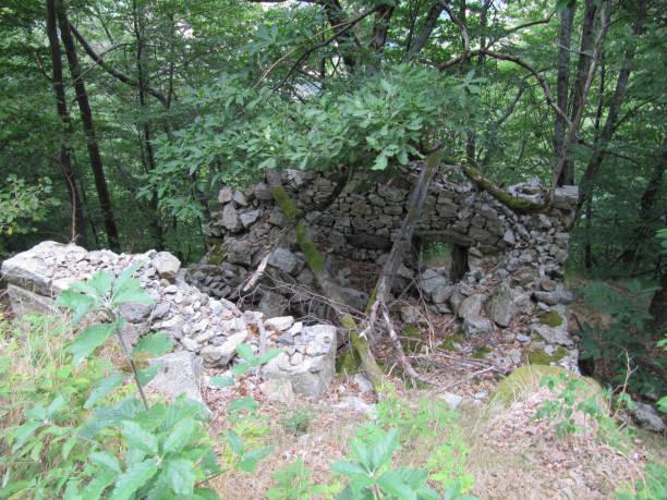 Maison en ruine en forêt et montagnee Ardèche, France ruine stock pictures, royalty-free photos & images