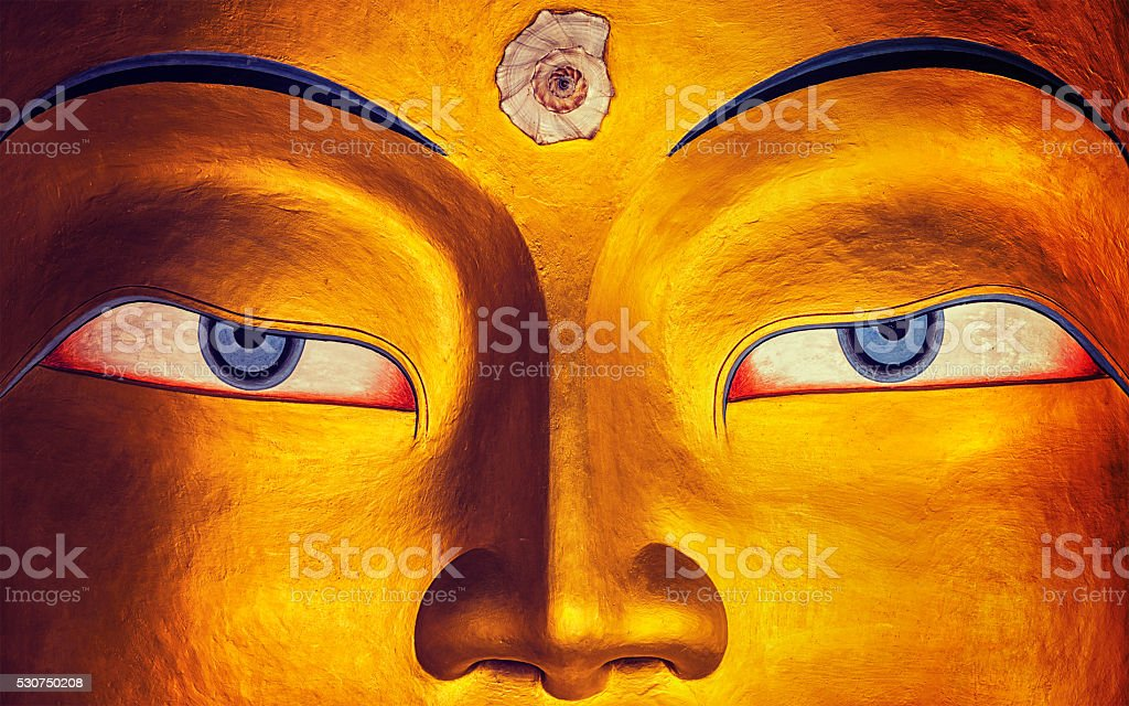 Maitreya Buddha face close up, Thiksey Gompa, Ladakh stock photo