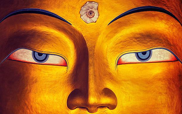 Buda Maitreya cara acercamiento, Thiksey Gompa, Ladakh - foto de stock