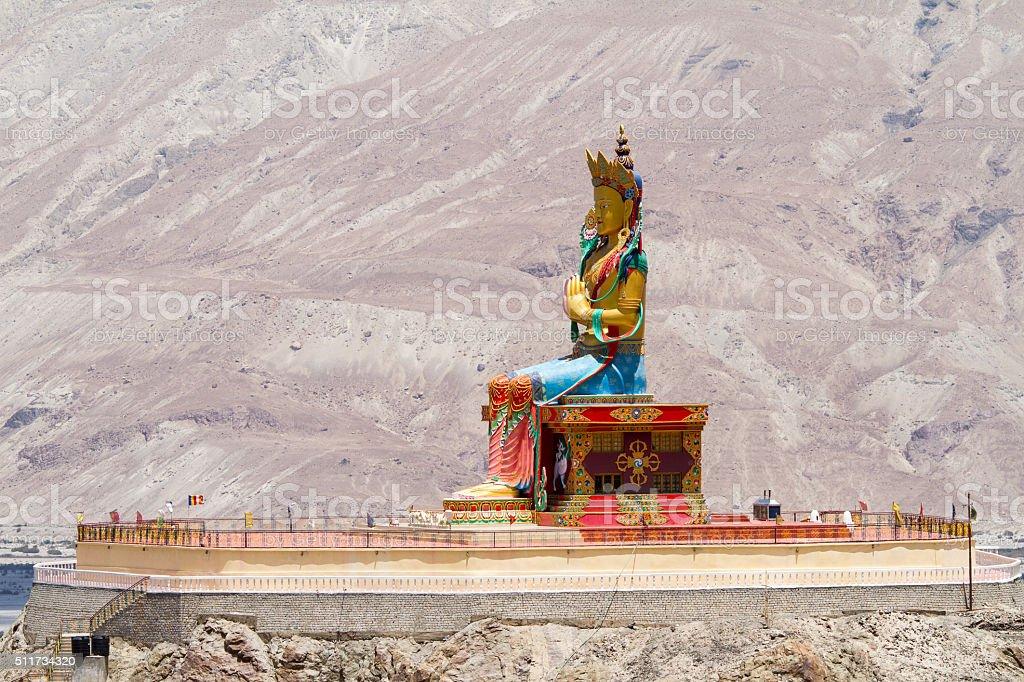Maitreya Buddha giant  sitting statue in Nubra valley stock photo
