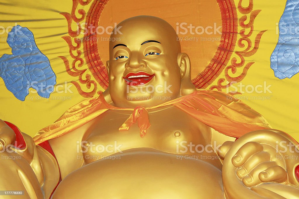 Maitreya Buddha sculpture in the hall stock photo