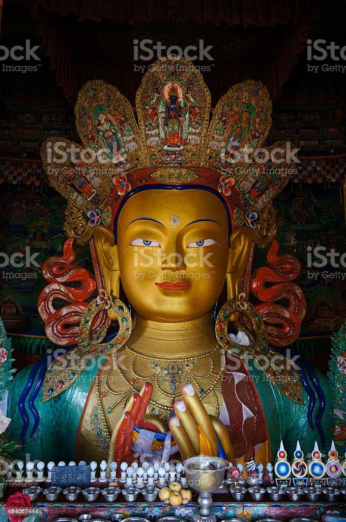 Maitreya buddha statue in Hemis gompa in Ladakh, India. stock photo