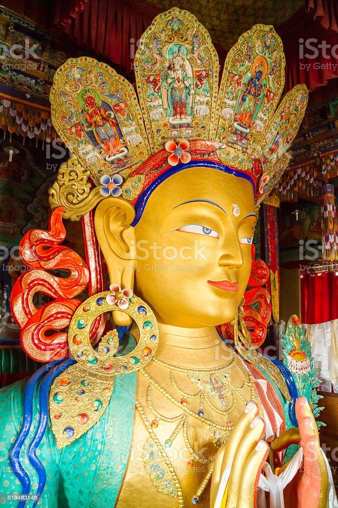 Maitreya Buddha, upper part of the Giant statue, Thikse Monastery stock photo