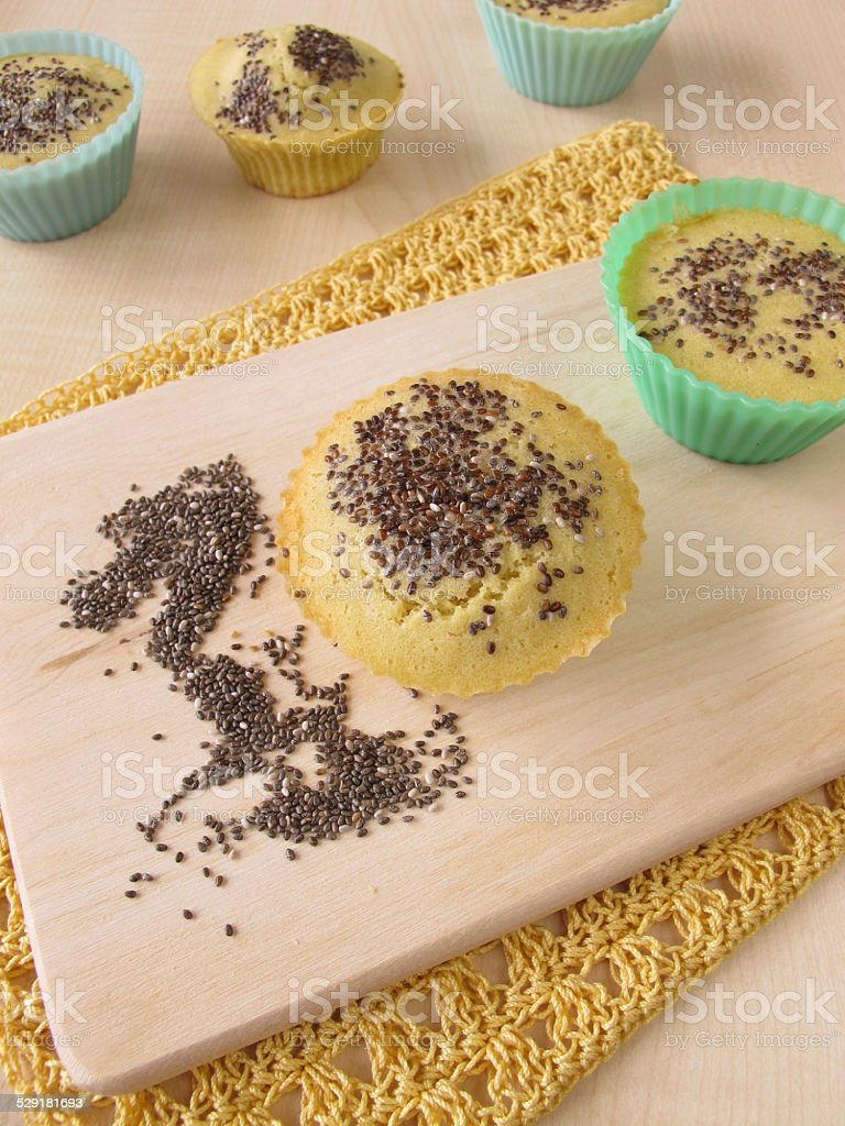 Maize flour bread muffins with chia seeds stock photo