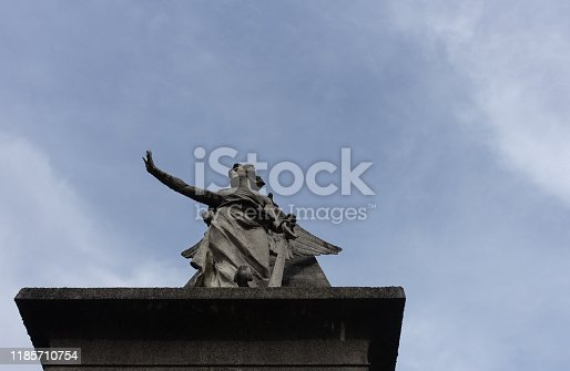 istock majestic angel statue in white marble of carrara 1185710754