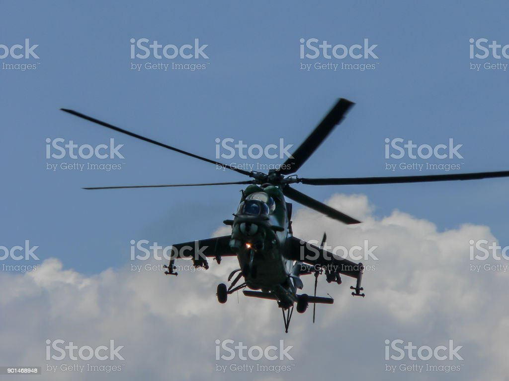 Majestic army helicopter on sunny day stock photo