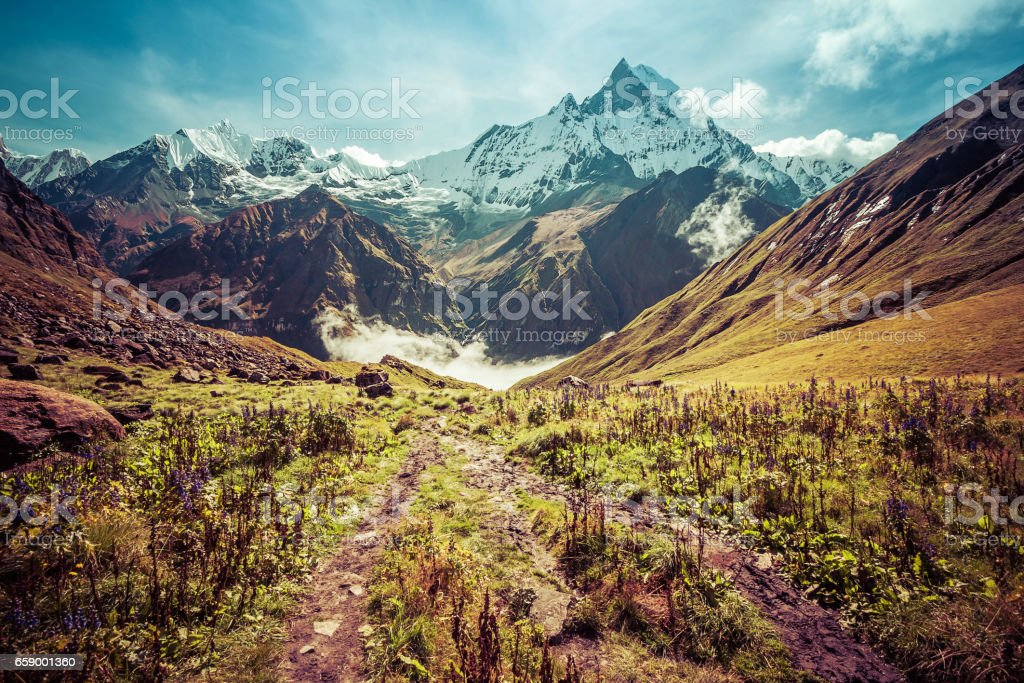 Majestic beautiful Fishtail Mountain in Annapurna mountain range, Nepal royalty-free stock photo