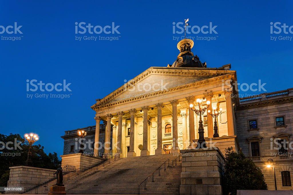 Majestic Capitol Building Columbia South Carolina illuminated at night stock photo