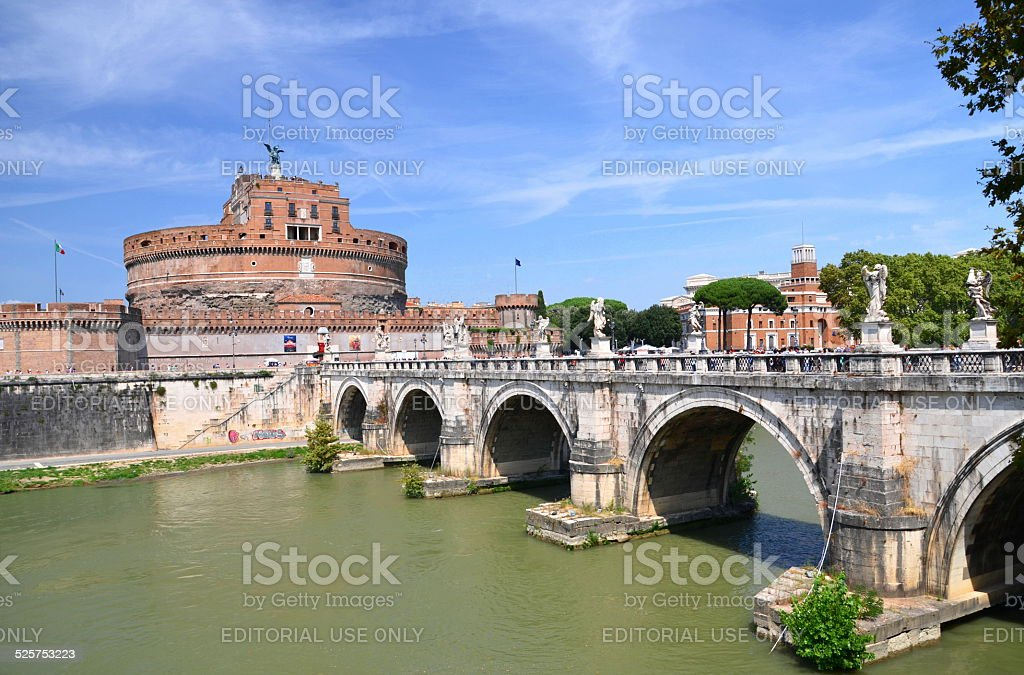 Majestic Castle of Saint Angel over Tiber river in Rome stock photo
