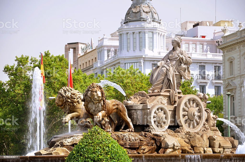 Majestic Cibeles Fountain on Plaza de Cibeles in Madrid, Spain stock photo