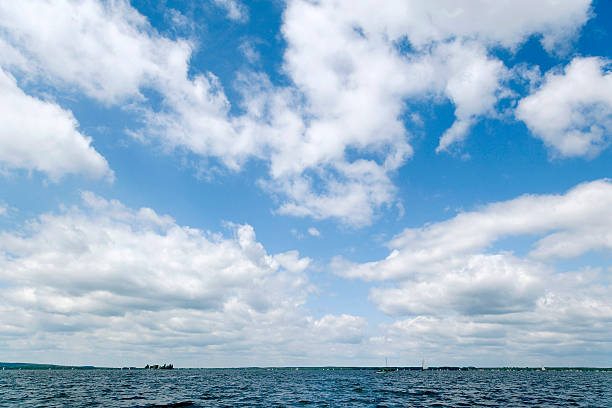 Majestic cloudscape - blue sky white clouds (XXL) stock photo