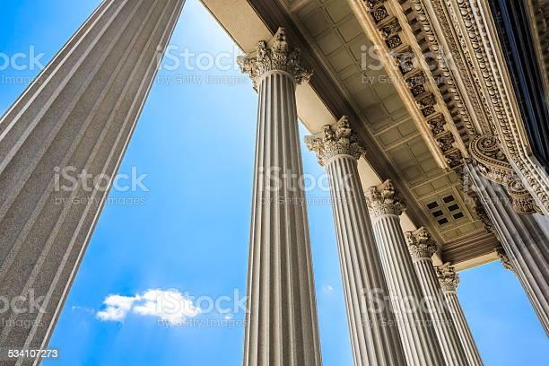 Majestic Columns Frame Blue Sky, Puffy Clouds, Columbia SC