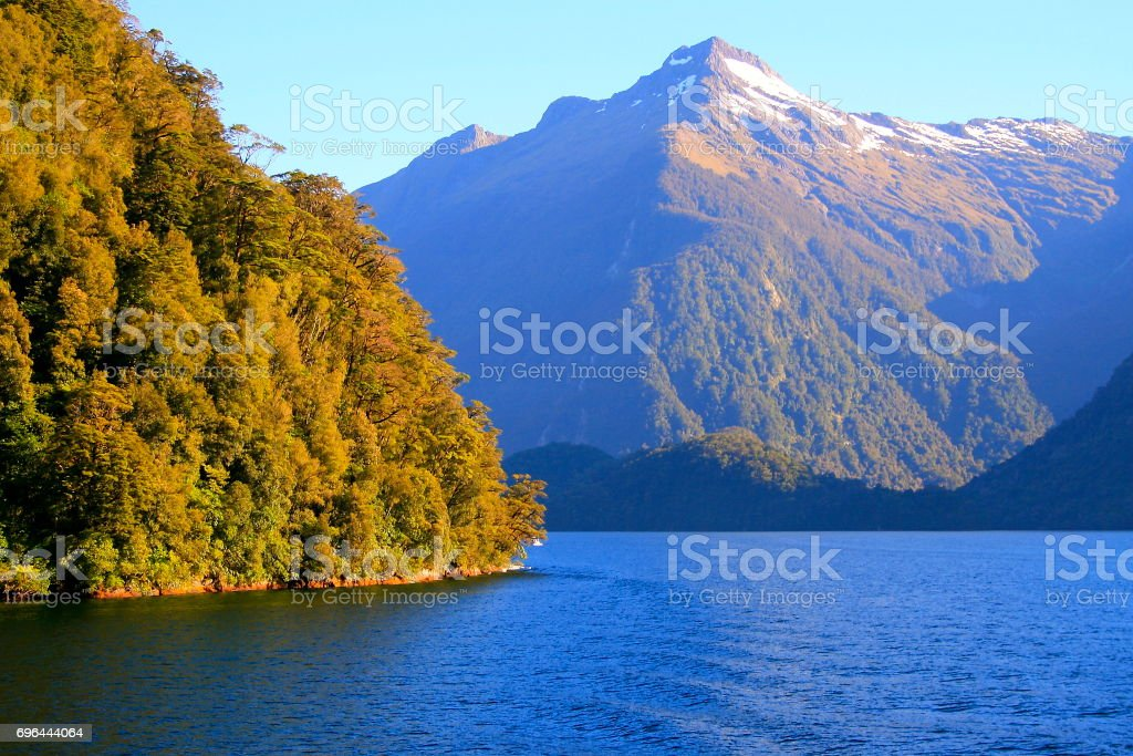 Majestic Doubtful Sound fjord, Idyllic Fiordland landscape, South New Zealand panorama stock photo
