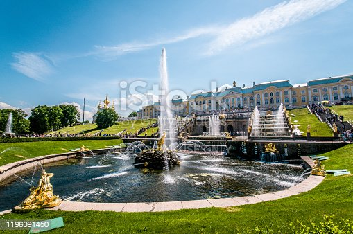 24th of December, 2019 - The fountain at Peterhof palace in St. Petersburg, Russia.