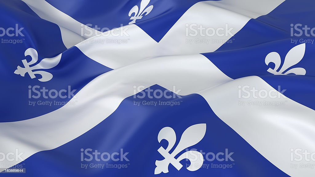 Majestic Glossy Quebec Flag stock photo