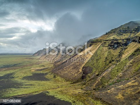 Majestic Hafursey against cloudy sky. Idyllic view of mountain range at Katla volcano. It is in Iceland.