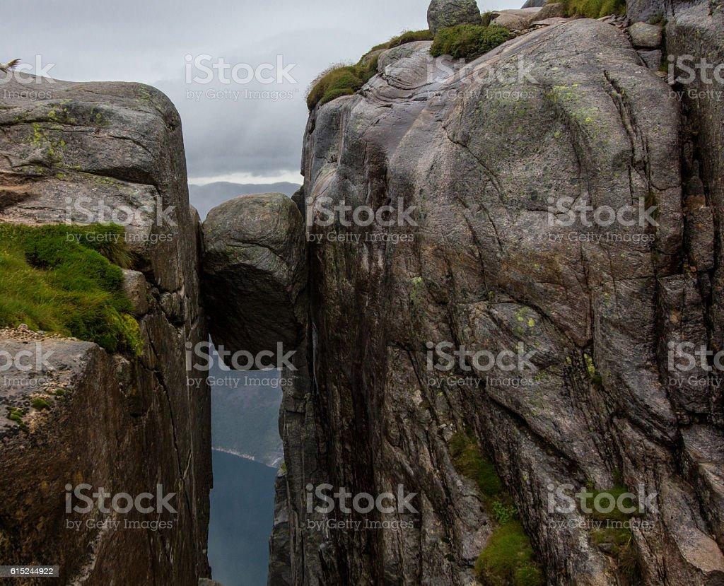 Majestic hanging stone, Kjerag, Norway stock photo