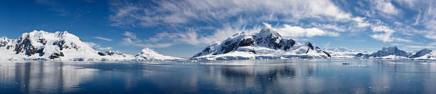 Majestic Icy Wonderland in Paradise Bay of Antarctica stock photo