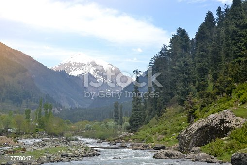Majestic Jhelum River, a tributary of the Indus River, passes through the Kashmir Valley bounded by the Great Himalayas and the Pir Panjal Range. Jammu and Kashmir, India. Nature Landscape backgrounds scenery.