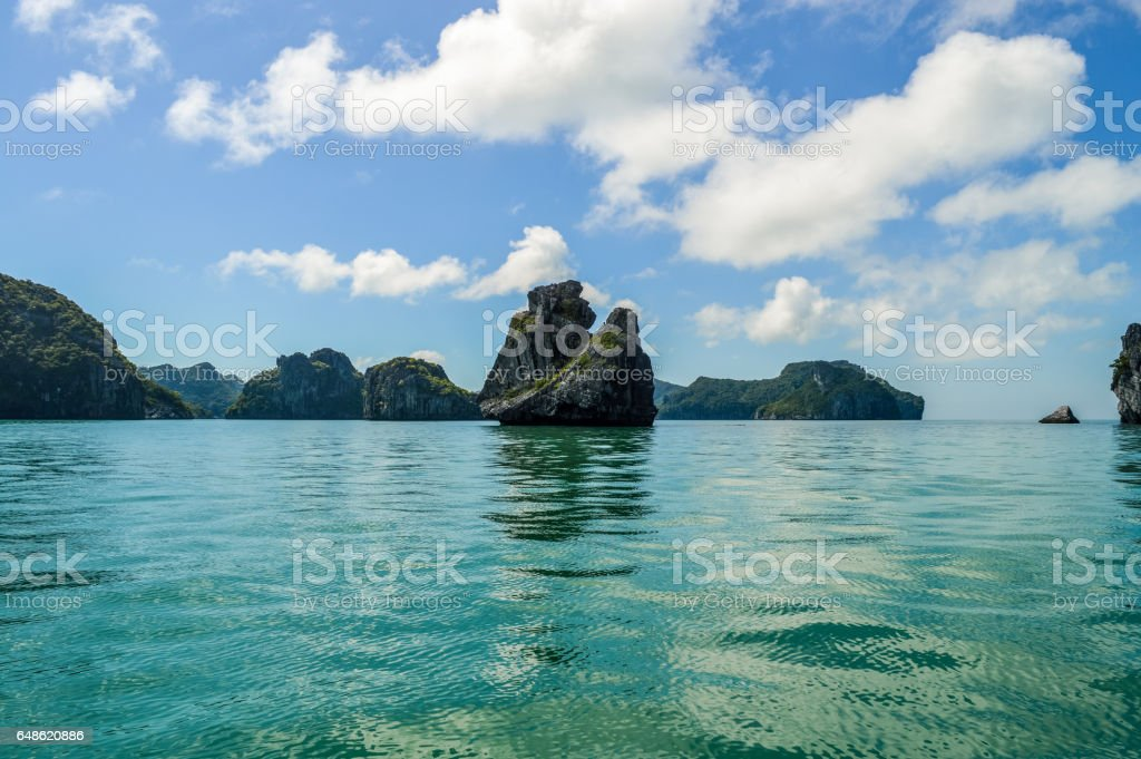 Majestic landscape of Phang Nha Bay in Thailand stock photo